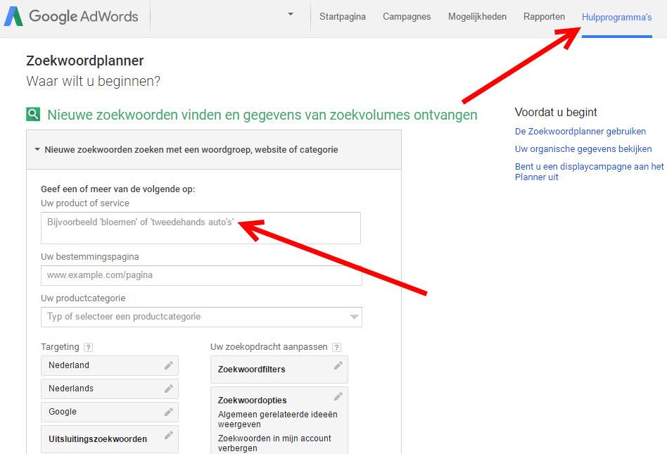 google Zoekwoordenplanner
