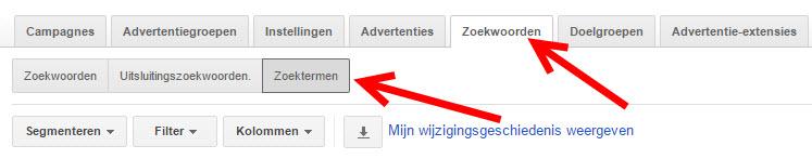 google zoektermen